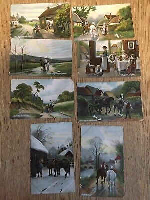 Postcard lot of 8 Horses and work farm scenes by JWB