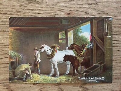 Postcard Interior of Stable by Misch & Stocks  Working horse