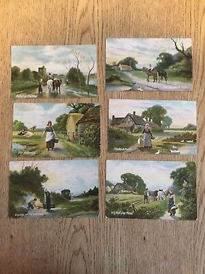 Postcard lot of 6 Working Horse by JWB