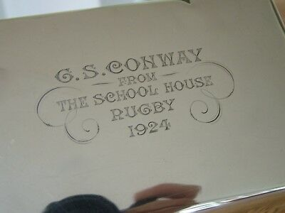Famous English Rugby Star Gs Conway 1924 Solid Silver Cigarette Box Memorabilia