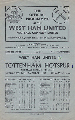 WEST HAM v SPURS 1949/50, DIVISION 2