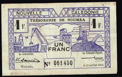 PAPER MONEY 1942 New Caledonia Noumea 1 F