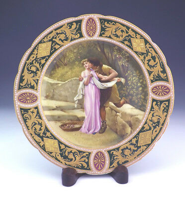 Antique Vienna Style Porcelain Hand Painted & Texture Gilt Plate - Signed!