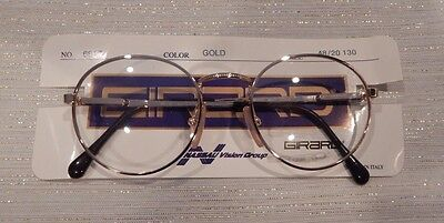 Vintage Girard 6817 Gold 48/20 P3 Round Made Italy Eyeglass Frame New/Old Stock