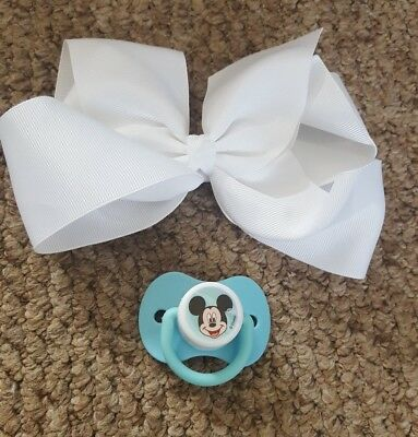 reborn baby customised magnetic mickey mouse dummy & hairband, look!!!