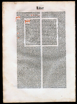 St Augustine The CIty of God 1494 Incunable Leaf Commentary Hand-Colored Letters