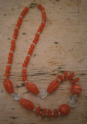 VITAGE 1930's BURNT ORANGE & CLEAR GLASS GRADUATED BEAD NECKLACE WW2 40s