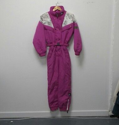 Women's Vintage Pink Quicksilver Full One Piece Ski Suit Size Small/ UK 8