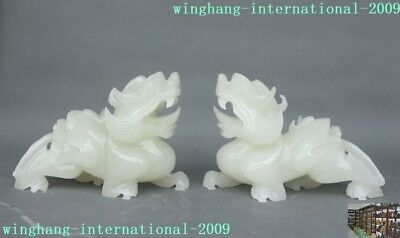 Chinese White jade stone carved wealth feng shui Brave troops Pixiu statue Pair