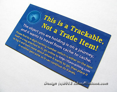 10 Info Cards for Geocoins / Travel Bugs / Geocaching Trackables