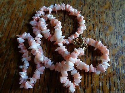 Coral chip angel skin 16 inch necklace with bolt ring clasp