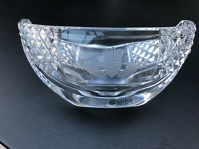 Rare Galway Irish Crystal Oval Bowl With  Friendship Etched Hands Pattern