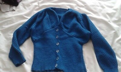 1940's ladies cardigan jumper hand knitted small clnched in waist