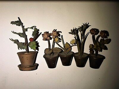 Antique Austrian Solid cold painted Bronze plants x5 40mm - 60mm tall