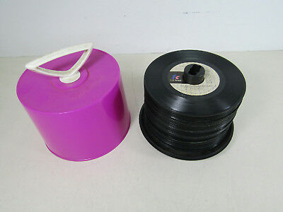 Lot Of 59 45's RPM Records Singles Ecliectic Mix In Pink Disk Go Case