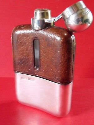 1930s ANTIQUE SOLID SILVER & GLASS with LEATHER HIP FLASK by JAMES DIXSON & SONS