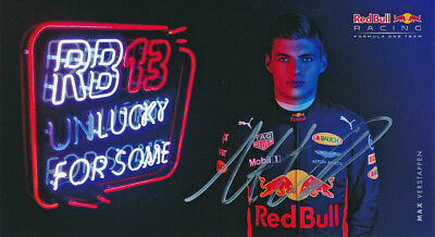 Max Verstappen Signed Official 4.5X8.5 Inches 2017 Red Bull F1 Photo Card