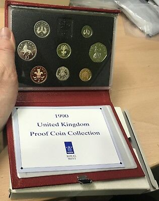 Sc296 Uk Gb United Kingdom 1990 Deluxe Proof Year Set In Case With Box & Coa