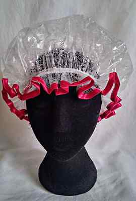 Red Satin Trim Shower Cap with Daisy Pattern