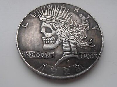 1923 USA Hobo Peace Dollar Skeleton Lady Silver Plated Fantasy Coin Collectable