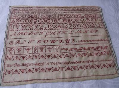 ~ Vintage  EMBROIDERY SAMPLER~ Small Red Emb. On Linen~