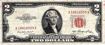 1953  TWO DOLLARS  US  , Paper Money  RED SERIES A18816559A