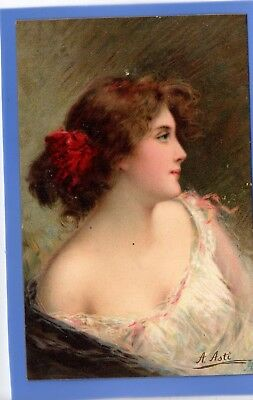 Old Vintage Tuck Postcard Artist Signed A Asti Beautiful Woman Glamour Irene