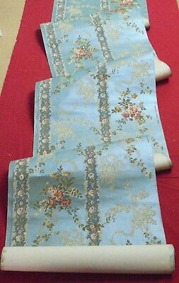 Antique French Wallpaper -Flowers on Blue pastel like Silk - 1900/1920