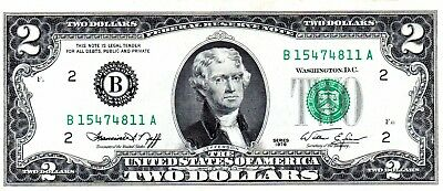 1976 TWO DOLLARS  US  , Paper Money  GREEN SERIES B15474811A NOT CIRCULATED