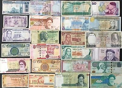 24 X Mixed Banknote Collection - Middle East - Bulk Lot. (1416)