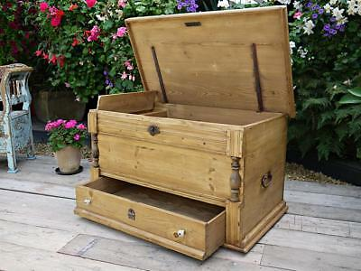Wow! Big! Old Antique Pine Blanket Box With Drawer! Mule Chest/trunk/storage