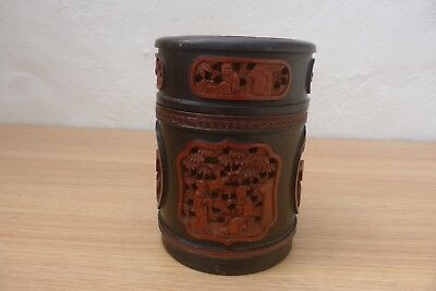 Superb Antique Chinese Deep Carved Scholar Bamboo Brush Pot Vase And Cover.