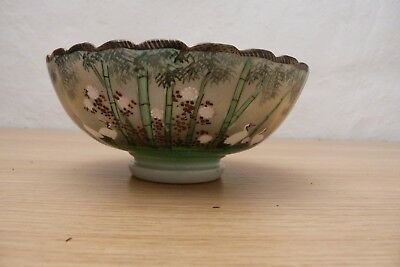 Very Nice 19Thc Japanese Porcelaine Hand Painted Bowl. Cranes And Bamboo.