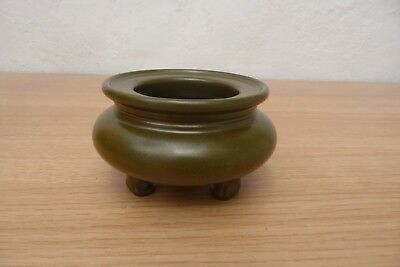 Beautiful Chinese Seal Marked ,teadust Olive Green Censer Dish.20Thc