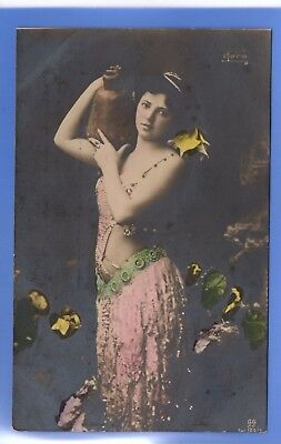 Old Vintage Postcard Sexy Woman Carrying Jug Glamour Pink Dress