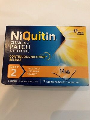 NiQuitin 14mg Clear 24 Hour 7 Patches Step 2 BNIB UK SELLER