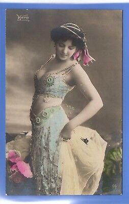 Old Vintage Postcard Sexy Woman Glamour Blue Dress Veil