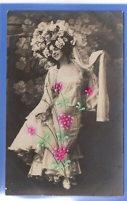 Old Vintage Embossed Rp Postcard Sexy Woman Flower Hat Glamour