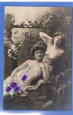 Old Vintage Embossed Rp Postcard Sexy Women Posing Together Glamour