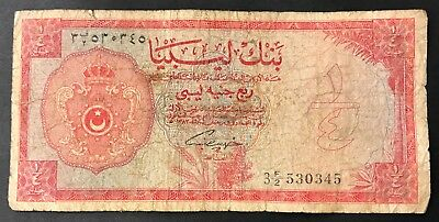1/4 Quarter Libyan Pound Banknote - Middle East - Rare.  (1410)