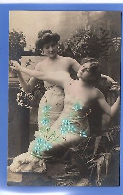 Old Vintage Embossed Rp Postcard Sexy Women Holding Hands Posing Glamour