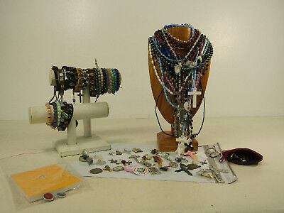 Religious Lot AS IS Prayer Rosary Beads Saints Crucifix Angel Pins Bracelets