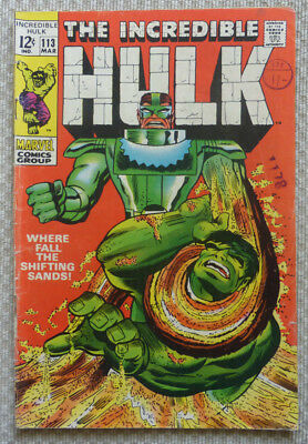 The Incredible Hulk #113, A Marvel Silver Age Comic, 1969.