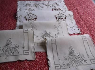 ~ Vintage  TABLE MATS~ Cream With Cutwork Ecru Embroidery~