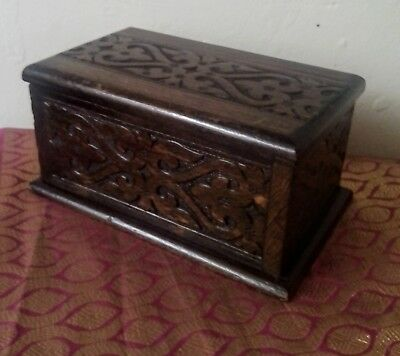 Arts & crafts- Swiss carved oak musical box