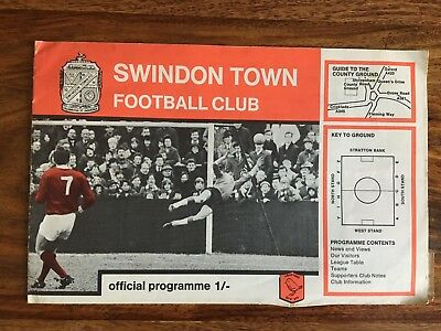 Swindon Town (winners) v Torquay united 13/8/1968 League Cup 1st Round