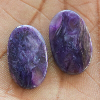 24.1Cts 100% Natural Charoite Pair Oval 25X15 Cabochon Loose Gemstone