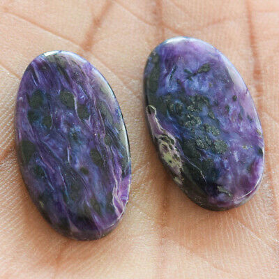 27.3Cts 100% Natural Charoite Pair Oval 25X15 Cabochon Loose Gemstone