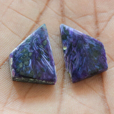 28.1Cts 100% Natural Charoite Pair Fancy 21X16 Cabochon Loose Gemstone