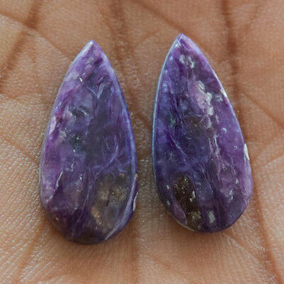 23.8Cts 100% Natural Charoite Pair Fancy 26X15 Cabochon Loose Gemstone
